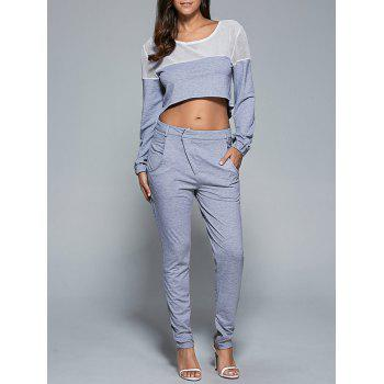 Mesh Patchwork Sweatshirt and Sport Pants Set