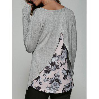 Back Surplice Floral Print Casual T-Shirt - GRAY GRAY