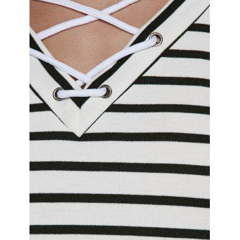 Lace Up Striped Print T-Shirt - WHITE/BLACK WHITE/BLACK