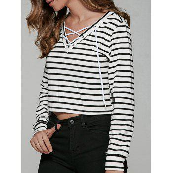 Lace Up Striped Print T-Shirt - WHITE AND BLACK WHITE/BLACK