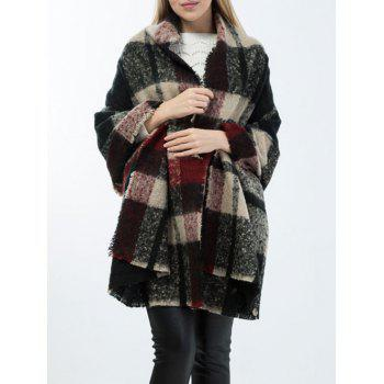 Warm Frayed Edge Tartan Pattern Shawl Wrap Scarf