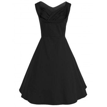 Vintage Bandage Fit and Flare Dress - BLACK S