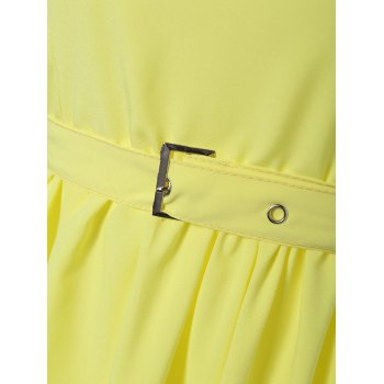 Vintage Belted A-Line Dress - YELLOW YELLOW