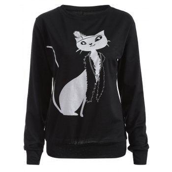 Casual Cat Print Loose Sweatshirt - BLACK BLACK