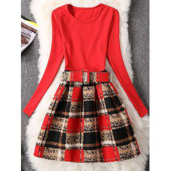 Retro Graffiti Plaid Skater Dress with Sleeves