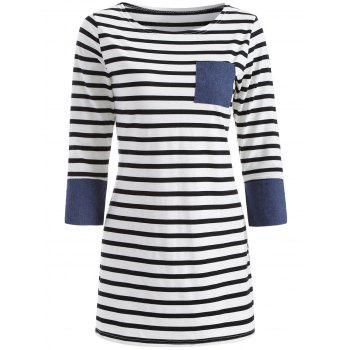 Casual Striped Patched Dress