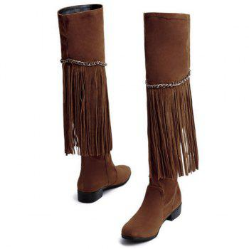 Fashionable Fringe and Chains Design Women's Thigh High Boots - BROWN 37