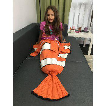 Hot Sale Cartoon Inspired Stripe Knitted Clownfish Blanket