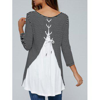Lace-Up Back Striped Blouse