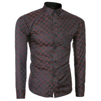 Buy Long Sleeve Button Grid Pattern Shirt COFFEE