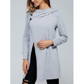 Inclined Button Front Slit Hoodie - LIGHT GRAY LIGHT GRAY