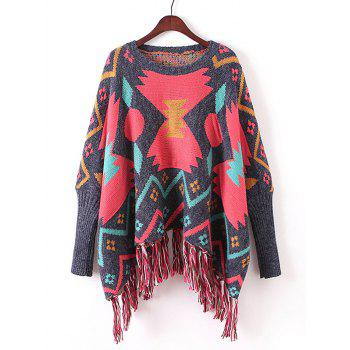 Fringed Batwing Sleeve Ribbed Sweater