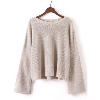 Bell Sleeves Ribbed Knitted Pullover