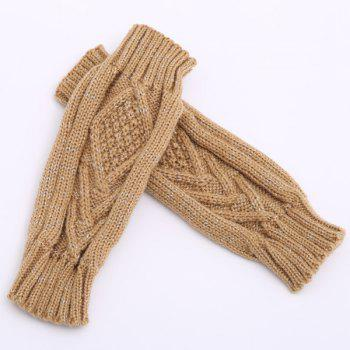 knitting Rhombus Line Embellished Fingerless  Gloves - CAMEL