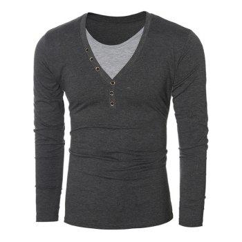 Round Neck Long Sleeves Button Embellished T-Shirt