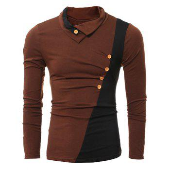 Turn-down Collar Button Embellished Insert T-Shirt