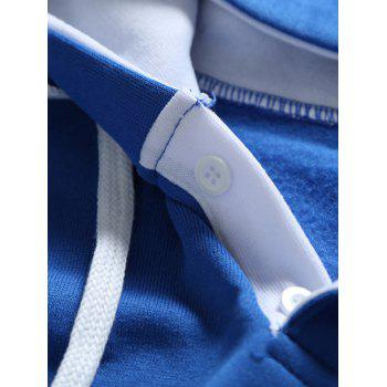 Button Up bordure contrastée Drawstring Hoodie - Bleu 3XL