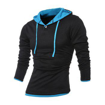 Button Up bordure contrastée Drawstring Hoodie - Bleu et Noir 3XL