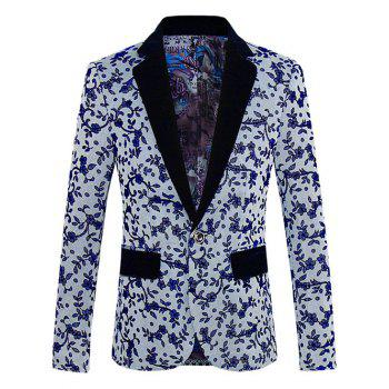 Floral Pattern One-Button Lapel Men's Long Sleeve Blazer