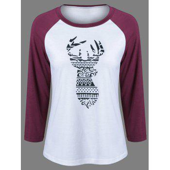 Raglan Sleeve Deer Pattern Christmas T-Shirt - BLACK AND WHITE AND RED BLACK/WHITE/RED