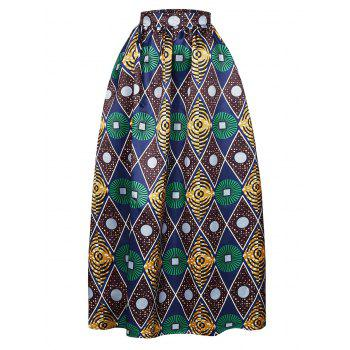 High-Waisted Geometrical Print Maxi Skirt