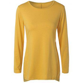 Side Slit Long T-Shirt - YELLOW YELLOW