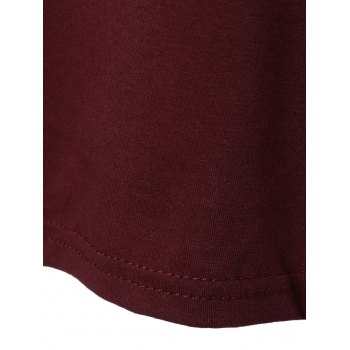 Side Slit Long T-Shirt - WINE RED WINE RED
