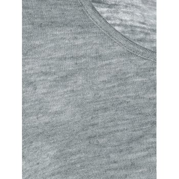 Button Design Textured T-Shirt - GRAY L