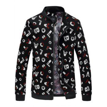 All-Over Letter Print Stand Collar Jacket
