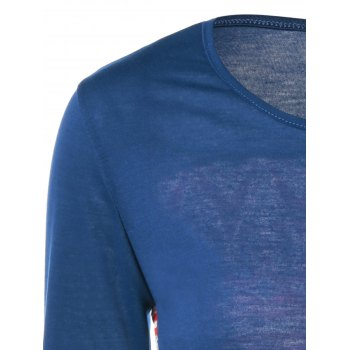 Pocket Tribe Print T Shirt - PURPLISH BLUE L