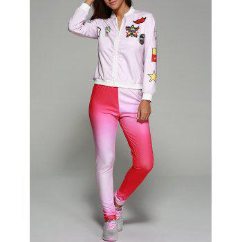 Star Print Zippered Ombre Sports Suit