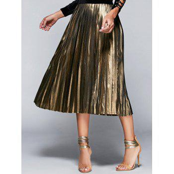 High Waisted Gilding Pleated Midi Skirt