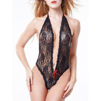 Halter Backless Lace Teddy