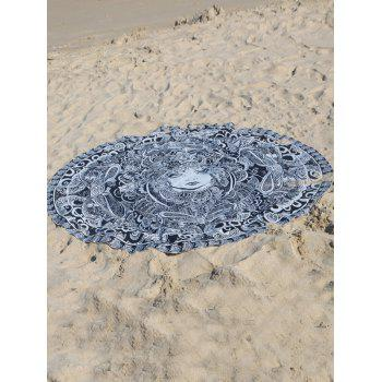 Round Shape Floral Girl Print Beach Throw - GRAY GRAY