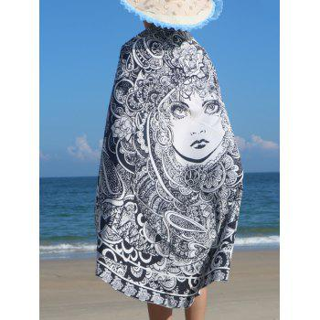 Round Shape Floral Girl Print Beach Throw