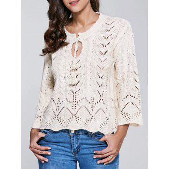 Stand Neck Long Sleeve Hollow Out Sweater