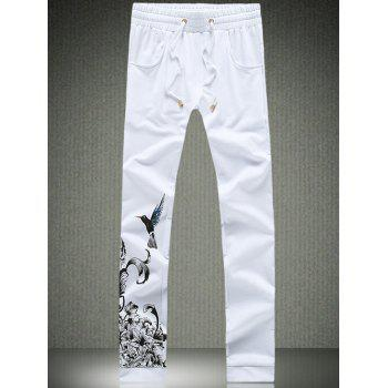 Flower and Bird Print Drawstring Waist Pants