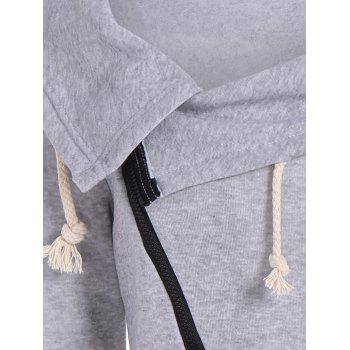 Inclined Zipper Pockets Sweatshirt - GRAY GRAY