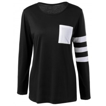 Pocket Striped T Shirt - BLACK BLACK