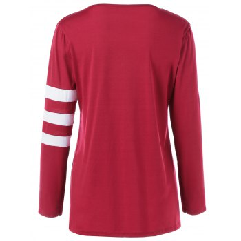 Pocket Striped T Shirt - WINE RED M