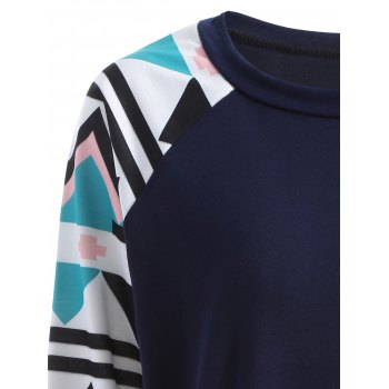 Raglan Sleeve Geometry Pattern Sweatshirt - PURPLISH BLUE M