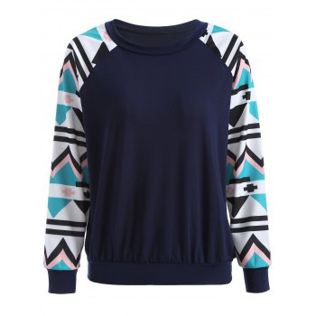 Raglan Sleeve Geometry Pattern Sweatshirt