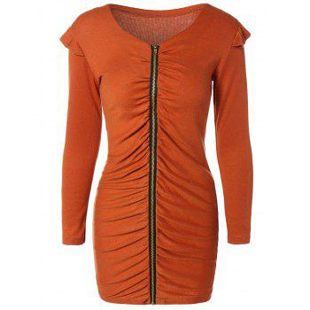 Ruched Zippered Bodycon Dress