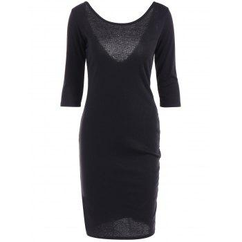 Back-V Zippered Bodycon Dress