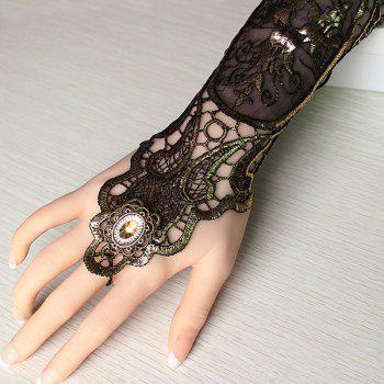 Floral Retro Lace Up Glove Bracelet - DEEP BROWN