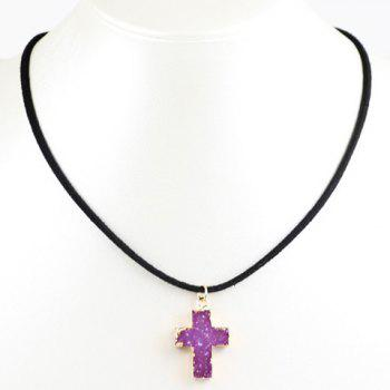 Faux Crystal Cross Pendant Necklace