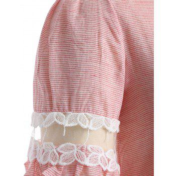 Ruffled Striped Lace Spliced T-Shirt - PINK PINK
