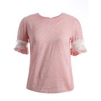 Ruffled Striped Lace Spliced T-Shirt