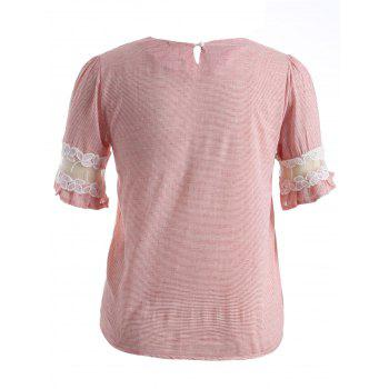 Ruffled Striped Lace Spliced T-Shirt - PINK 2XL