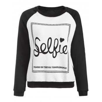 Love You Letter Raglan Sleeve Sweatshirt - BLACK S